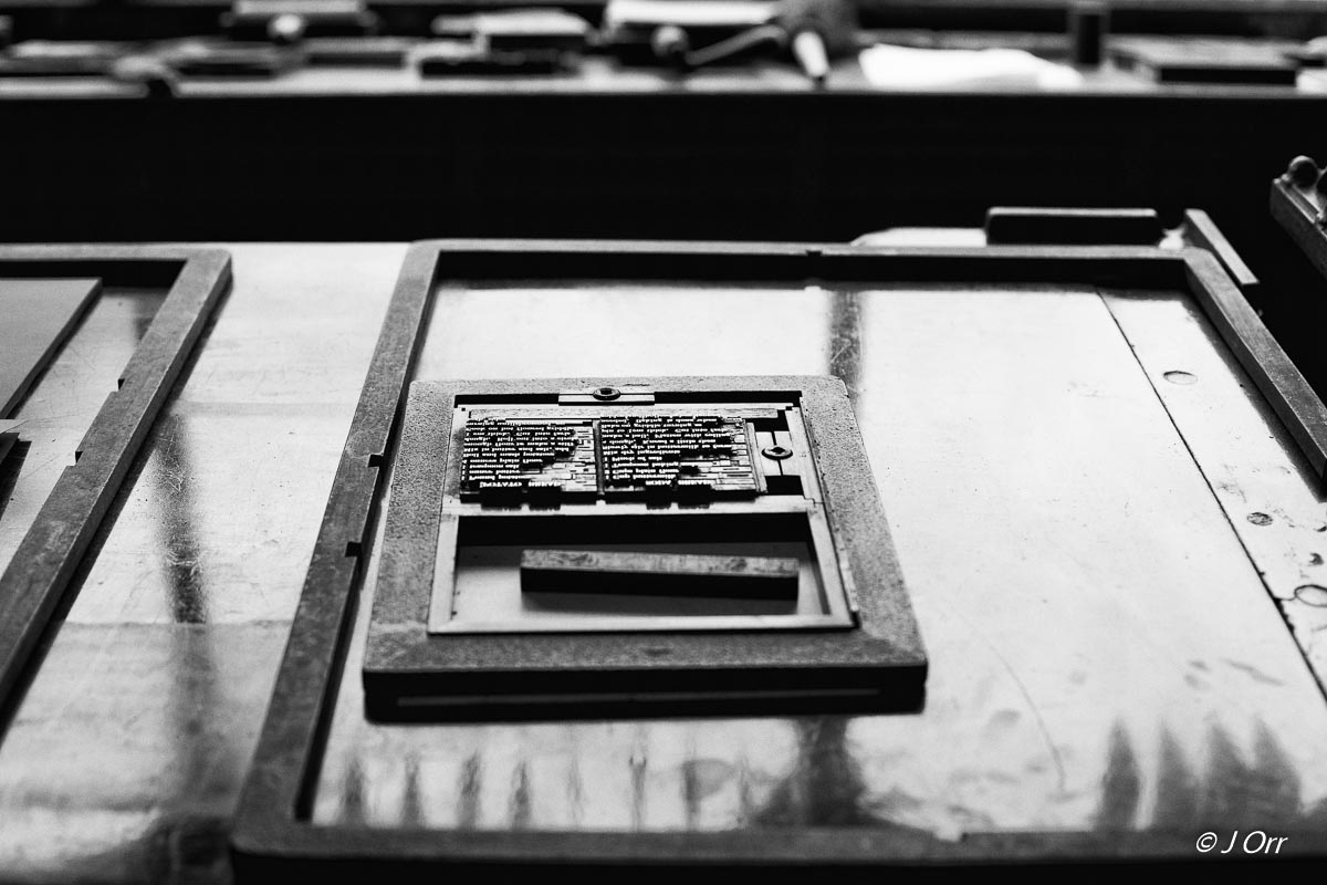 Printers frame with type