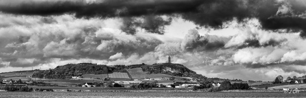 Scrabo Tower, Newtownards, Down Northern Ireland with Strangford Lough in foreground