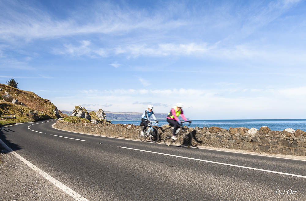 Cyclists on the Antrim Coast Road