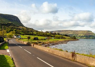 Antrim Coast Road at Ardclinis Church between Carnlough and Waterfoot