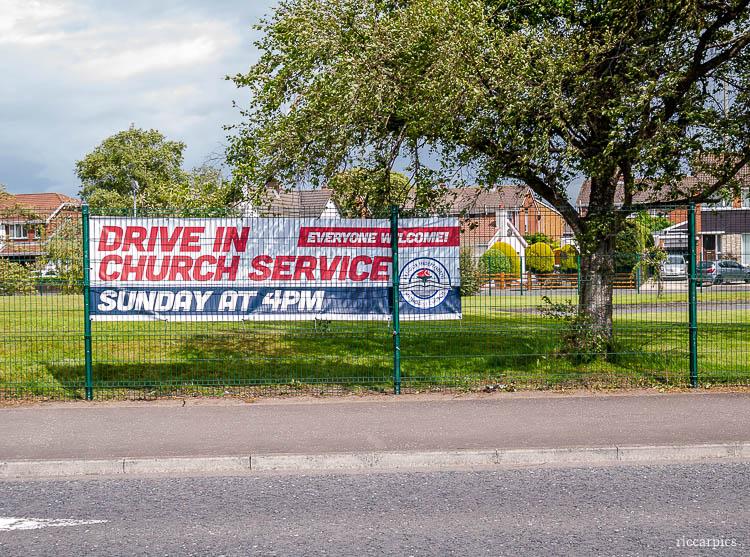 Drive in Church Service sign, Bangor